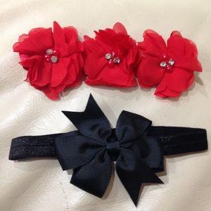 NWOT Red & Black Bow Flower Baby Headbands